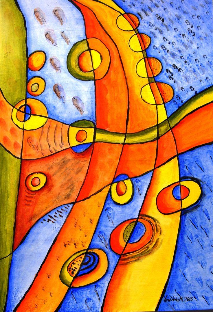 """Vitral, """"Ensoñación II """", acrílico sobre papel, 50 x 35 cm."""