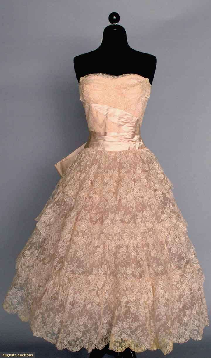 ~PINK LACE GOWN, MID 1950s~ Strapless, 4 tier lace flounced skirt, pink satin sash & CB bow,ood. attached crinoline petticoats