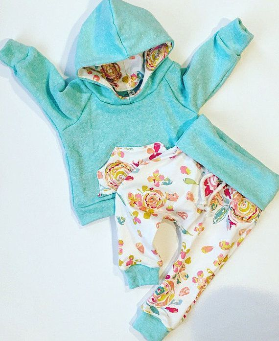 Love this! Child girl garments / child floral outfit / child girl hoodie / child bathe present / natural child garments
