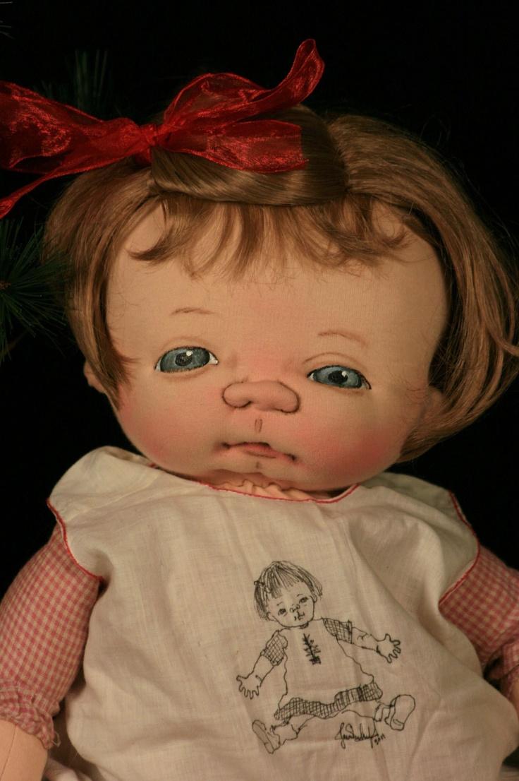 """Baby Janie one of a kind 21"""" Baby cloth doll by Jan Shackelford  www.janshackelforddolls.com"""