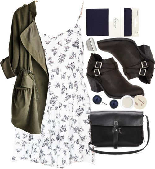 Brandy Melville ruffle dress / Green coat / Linea tight, $17 / Madden Girl faux leather ankle boots / Madewell black leather handbag / Betty Jackson navy stud earrings, $7.98 / Forever 21 ring / Korres lip care