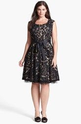 Betsy & Adam Lace Fit & Flare Dress (Plus Size)