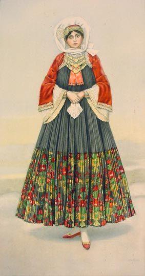 Νυφική φορεσιά από την Σκόπελο, Σποράδες - Bridal costume from Skopelos, Sporades Island. Chatzimichali Angeliki, Ελληνικαί Εθνικαί Ενδυμασίαι (Greek National Costumes). Athens: Benaki Museum, 1948