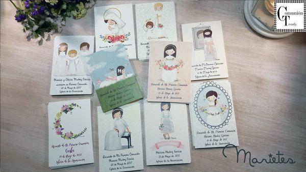 Marietes recordatorios, invitaciones, detalles para invitados, primera comunion, comuniones
