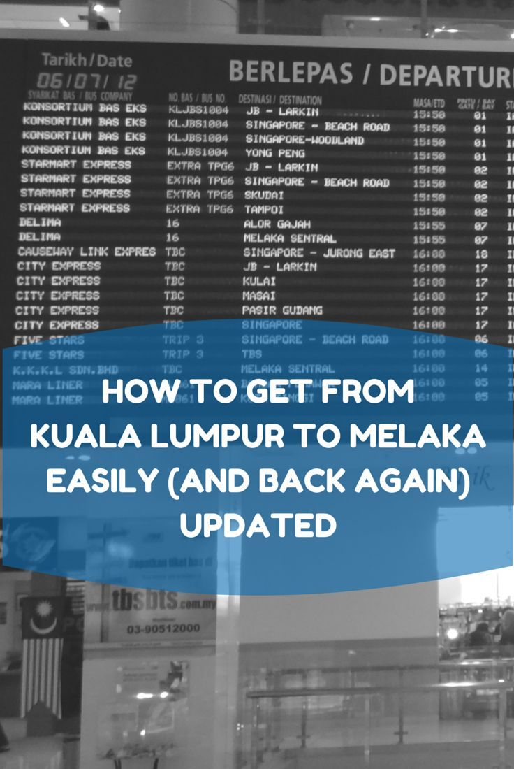 Detailed instructions describing how to get from Kuala Lumpur to Melaka/Malacca in Malaysia.