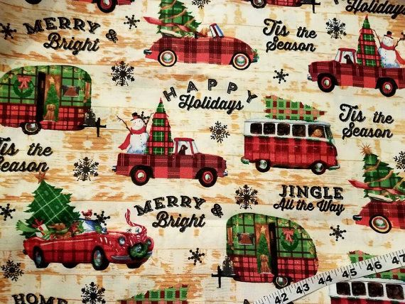 Plaid Christmas fabric trailer truck Car Snowman Jingle All The Way cotton quilters print sewing material to sew by the yard craft project by ConniesQuiltFabrics from ConniesQuiltFabric. Find it now at http://ift.tt/2eN2oWV! http://ift.tt/24HwgZX.