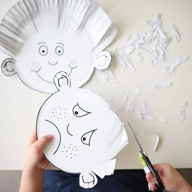 Someone isn't too happy with their haircut...   Cutting with Purpose Paper Plate Haircuts! ✂️ Mr4 enjoyed the TP Roll Family Haircuts we shared a couple of weeks ago, I knew he'd like giving these funny faces a haircut too!!  ~  A simple, hands on activity for Preschoolers with hidden learning & skill building opportunities. ✂️ ~  I've shared a full post on our website on creating a Cutting Busy Box, including tips & tricks on developing scissor skills in Toddlers & Preschoolers. Just s...