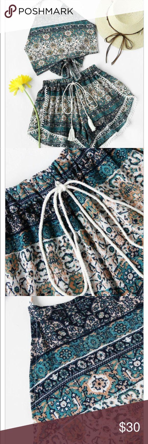 Aztec Two Piece Bow Tie Aztec Print Bow Tie Open Back With Pompom Shorts Belt : NO Fabric : Fabric has no stretch Season : Summer Suit Type : Shorts Pattern Type : Tribal Print Bust(cm) : S:92cm, M:96cm, L:100cm, XL:104cm Waist Size(cm) : S:52-96cm, M:56-100cm, L:60-104cm, XL:64-108cm Hip Size(cm) : S:96cm, M:100cm, L:104cm, XL:108cm Thigh(cm) : S:74cm, M:76cm, L:78cm, XL:80cm Size Available : S,M,L,XL Shorts Length(cm) : S:25cm, M:26cm, L:27cm, XL:28cm Top Length(cm) : S:34cm, M:35cm…