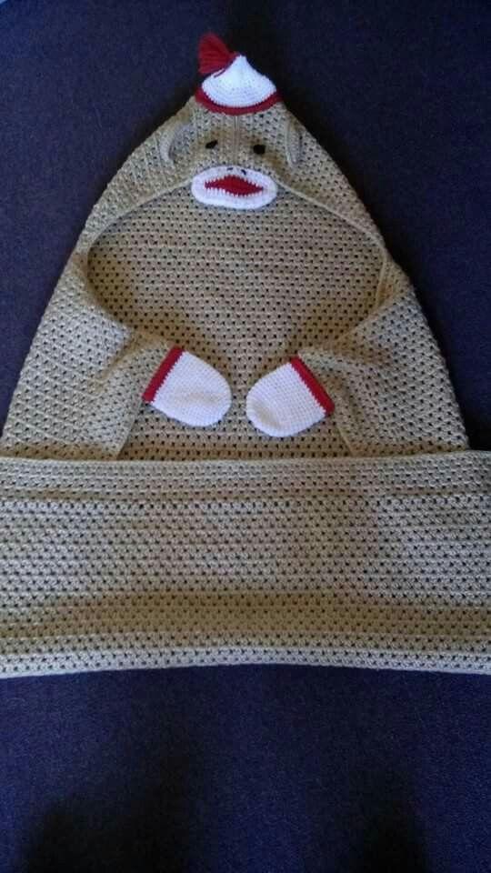 Crochet sock monkey hooded blanket