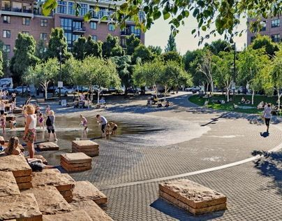 Jamison Square is a one-acre park featuring a complex stepped stone wall. The…
