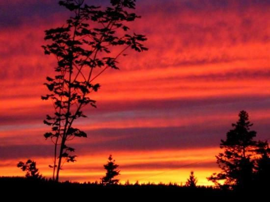 red sunset in Montague PEI