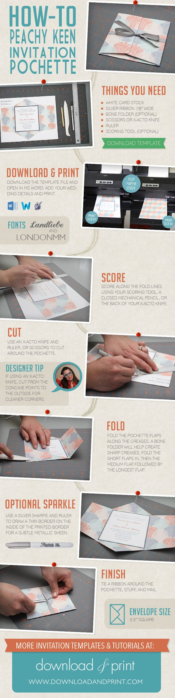 How-to make a Peachy Keen Wedding Invitation Pochette with #downloadandprint templates