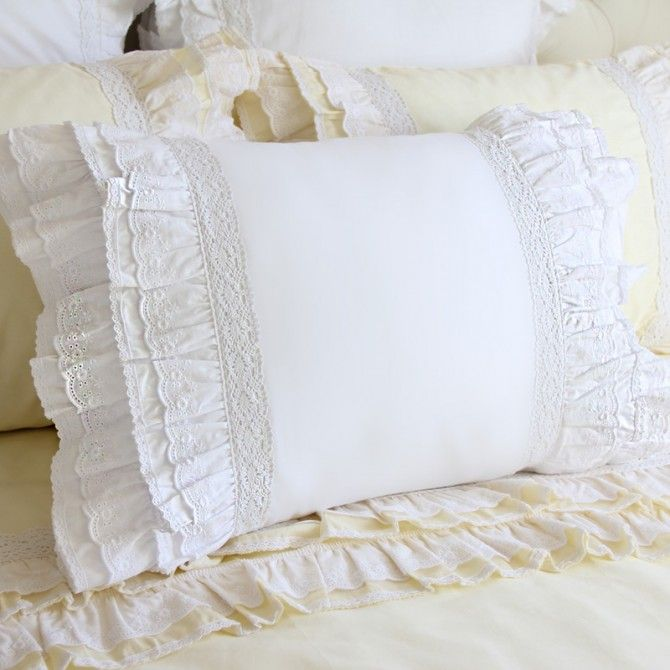 Lace Love Pillow Sham, White This pillow sham has multiple layers of lace on both sides to create a romantic bedroom. High quality.