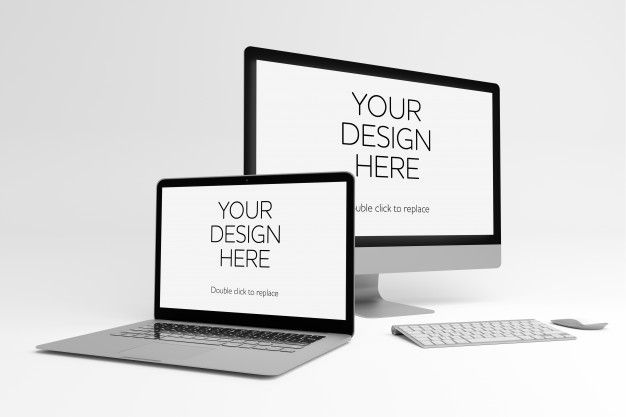 View Of A Laptop And Pc Mockup Mockup Mockup Free Psd Certificate Design