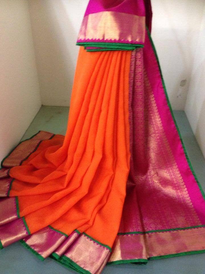 Orange Chiffon with kancheepuram silk border and pallu
