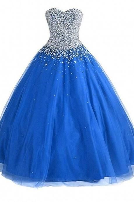 Women's Sweetheart Ball Gown Beaded Prom Dresses Tulle Beading Quinceanera Dresses Long Evening Gowns PD012