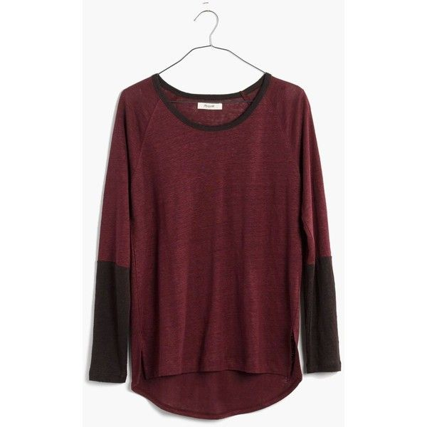MADEWELL Modern Linen Raglan Tee in Colorblock ($40) ❤ liked on Polyvore featuring tops, t-shirts, dark cabernet, draped tee, raglan-sleeved t-shirts, raglan tee, red t shirt and red tee
