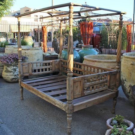Vintage Balinese Teak Carved Canopy Daybed Custom Outdoor