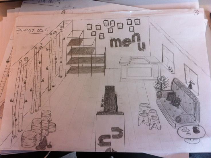 Store design, sketch - by Helena W. Pedersen