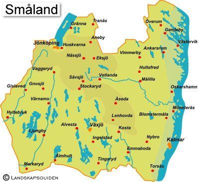 De kaart van Småland.  The map of Småland.