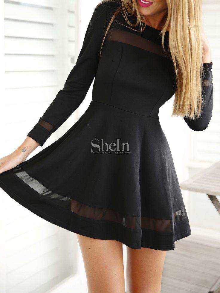 Black Long Sleeve Contrast Mesh Yoke Flare Dress 19.99