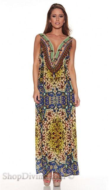 Parides Multi Persian Princess Long Dress in Blue at Pesca Boutique. - Price: $341.00