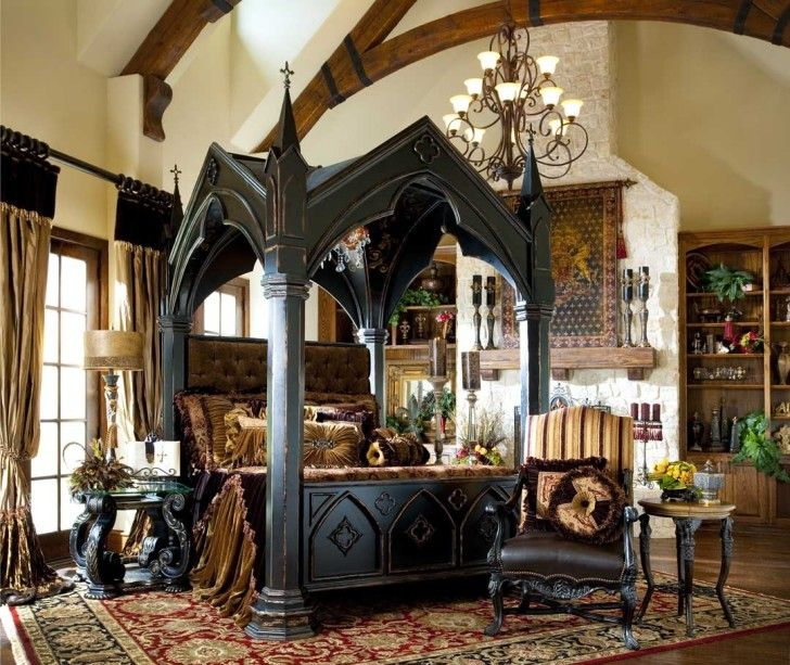 K--How to Decorate Gothic Style Bedroom: Extraordinary Image Of Gothic Style Bedroom Decoration Using Rustic Solid Wood Beam Ceiling In Bedroom Including Black Wood Gothic Canopy Bed Frame And Ivory White Bedroom Wall Paint ~ coolanz.com Bedroom Inspiration