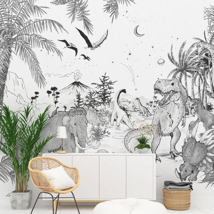 Wallpaper PREHISTORIC Black/White Mural Unique