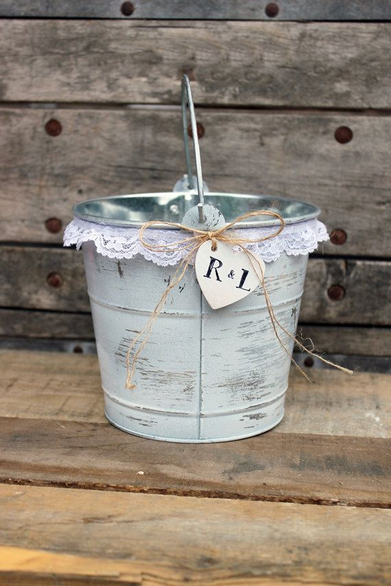 rustic flower girl basket . white wedding flower by MontanaSnow