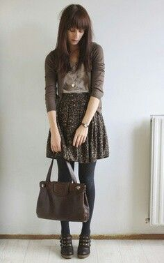 Tights, skirt, cardigan