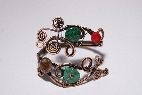 Fil enroulé bracelet, bracelet cuivre, bracelet manchette en cuivre, cadeau pour elle, fil enroulé bijoux fait à la main, en cuivre