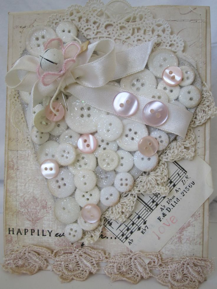 A marvelously button bedecked shabby chic handmade card. #card #shabby #chic #paper #crafting #buttons #scrapbooking