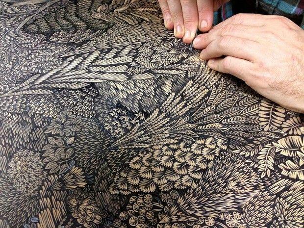Overlook par Paul Roden et Valerie Lueth Le duo Paul Roden et Valerie Lueth, de Tugboat Printshop, frappe une fois encore avec cette nouvelle impressionnante gravure sur bois.