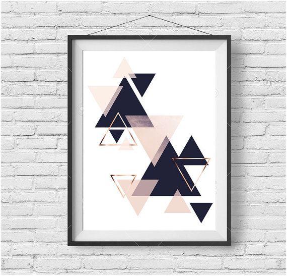 Wall Art Print, Digital Poster, Navy Blush Art, Copper Decor, Scandinavian Art…