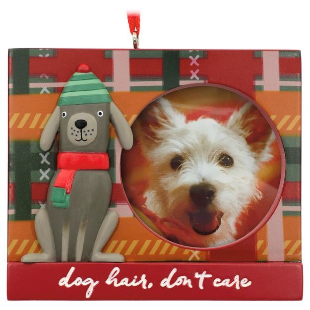 Festive Fido Dog Picture Frame Hallmark Ornament