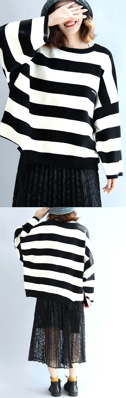 Strip-winter-woolen-tops-oversized-black-and-white-striped-pullover-t-shirts