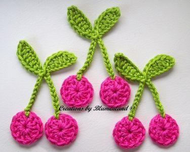 Cherries Crochet Applique.  Would make nice pkg. tie-on