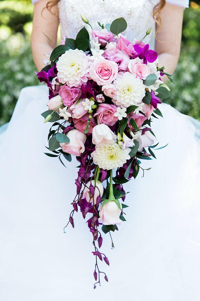 Impressive cascading bouquet for a Disneyland bride