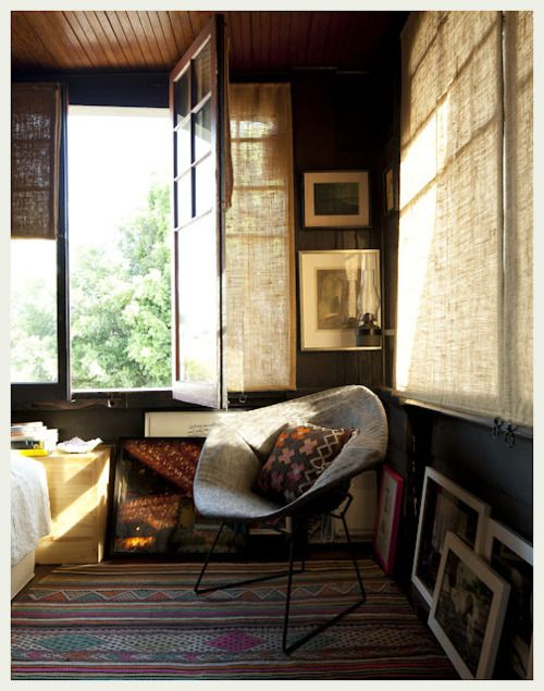 Mid century modern rustic. Love the window shades.