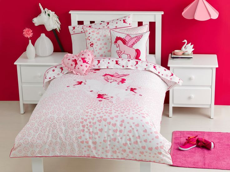 Unicorn Printed front and reverse.  Applique and embroidery detail on front.  Coordinating sheet sets with embroidery detail on cuff. 225TC Polyester Cotton Available in:  Quilt Cover sets- SB, DB & QB Sheet Sets - SB & KSB Heart shaped filled Cushion 30cm x 45cm filled cushion http://store.dreamtimeaustralia.com.au/product/unicorn