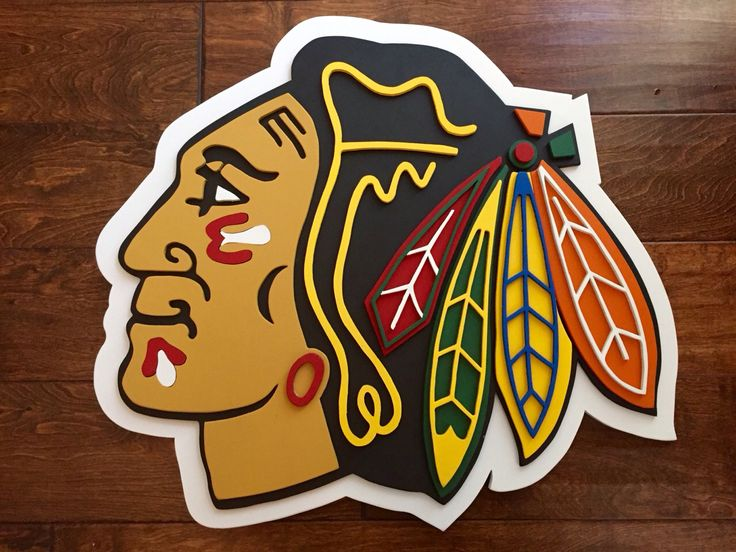 Chicago Blackhawks 3-D wood sign.