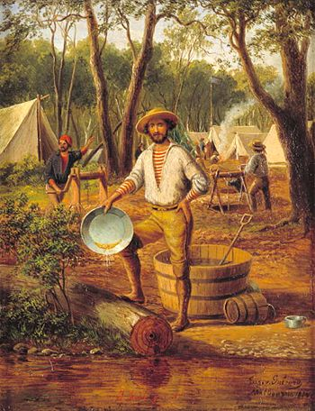 Eugene von Guérard, 'I have got it'. Ballarat,1854, State Library of Victoria...gold panning
