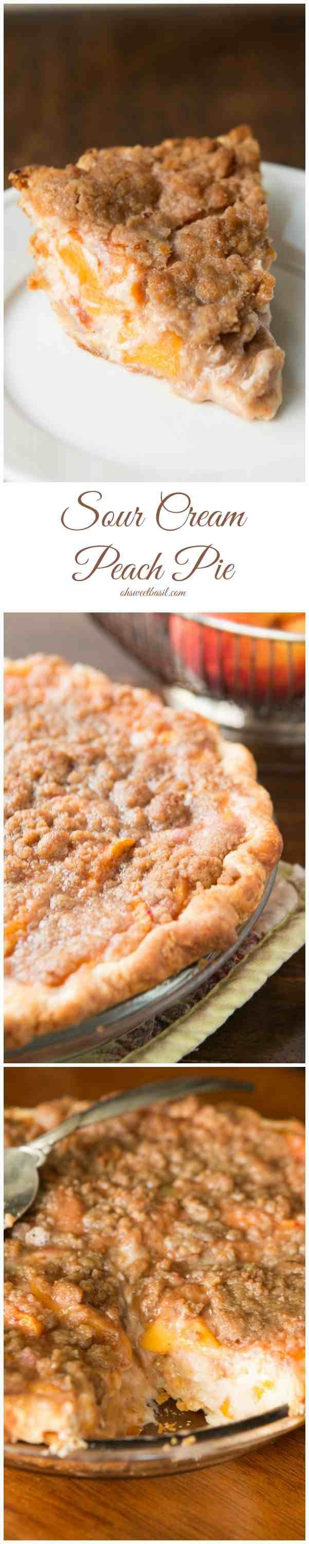Our favorite pie! Sour cream peach pie with this awesome brown sugar crumble topping!! ohsweetbasil.com