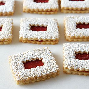 My little guy loves these (with any collor jelly) so i'll make em for him tonight! Raspberry Linzer Cookies | MyRecipes.com