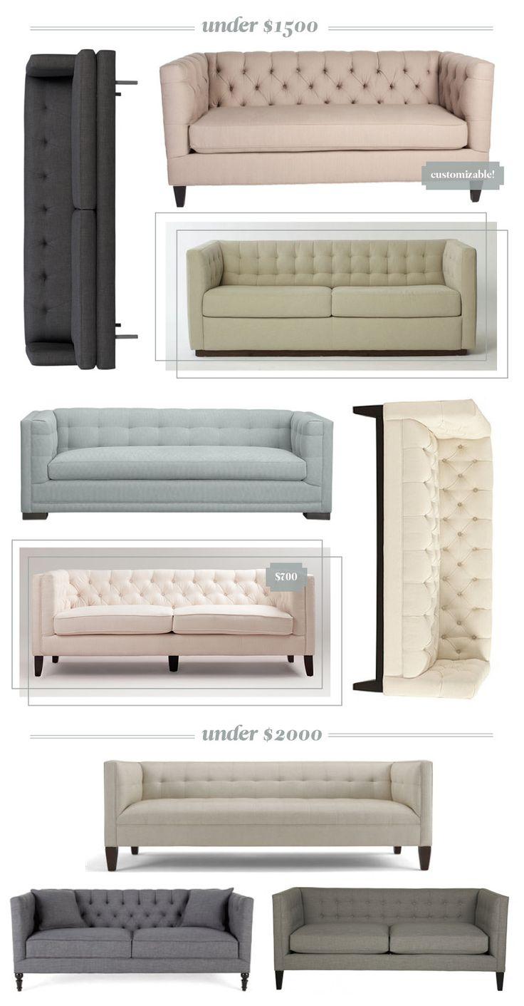 affordable tufted tuxedo sofas