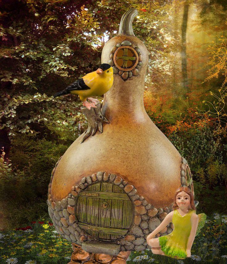 Yellow Gourd Fairy House Fairy Houses Pinterest