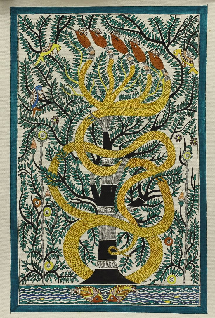 Five Head Snake On Tree Of Life Madhubani Painting Hindu Art  Tree Of Life