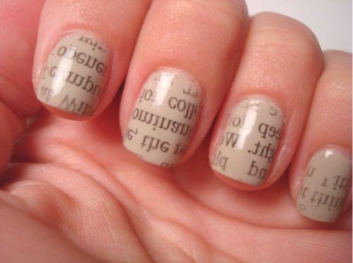 Fashion: Nail Art - Sunset & Vine: Nails Art, Nail Polish, Nailsart, Rubbed Alcohol, Newsprint Nails, Nails Polish, Prints Nails, Newspaper Nails, Paintings Nails