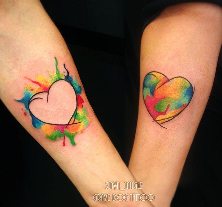 Татумастер @slava_jangle Парная акварельная татуировка. Сердце.