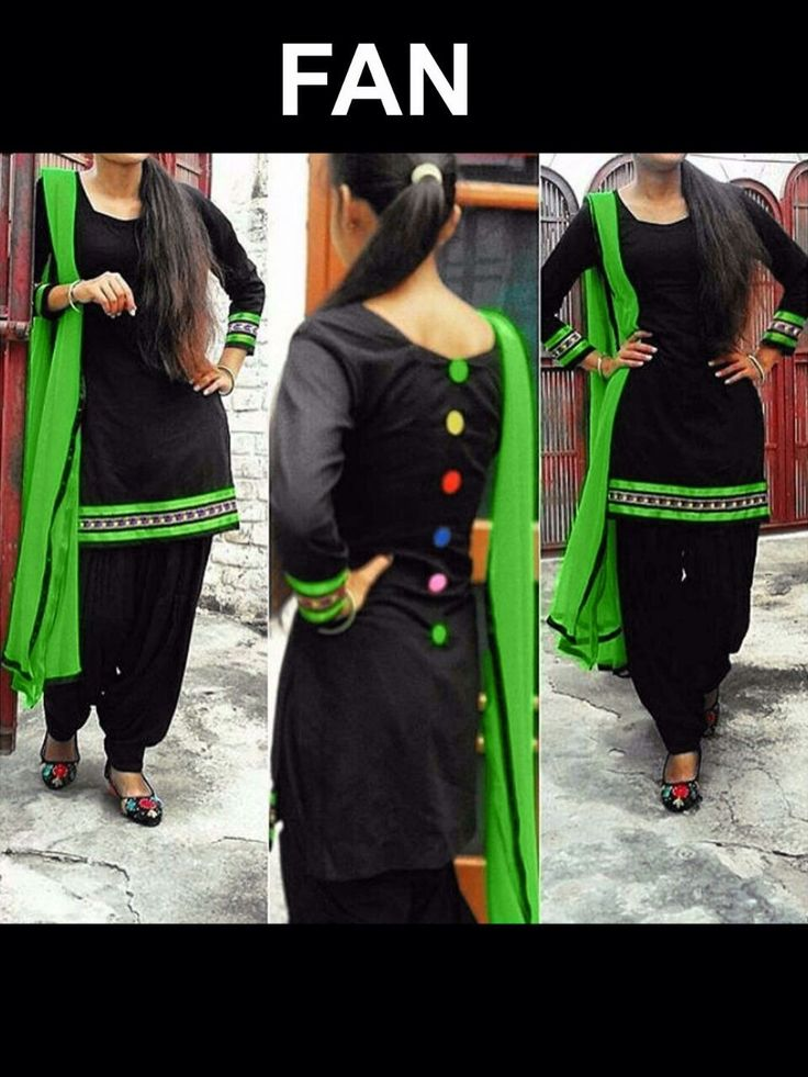 Black Cotton with Embroidery work Patiala salwar Suit with Pure Chiffon Green Dupatta